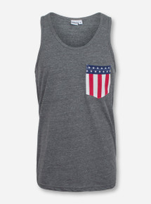 American Flag Pocket Heather Grey Tank Top - Texas Tech