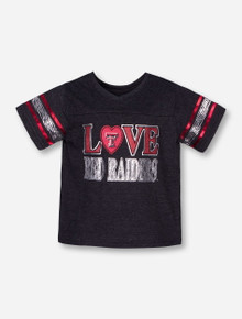 Arena LOVE Red Raiders in Zebra Print on Heather Charcoal TODDLER T-Shirt