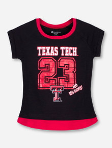 Arena Texas Tech #23 in Red Foil on Black YOUTH T-Shirt