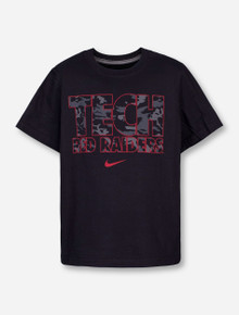 Nike Texas Tech Tech Red Raiders in Black Camo on Black YOUTH T-Shirt