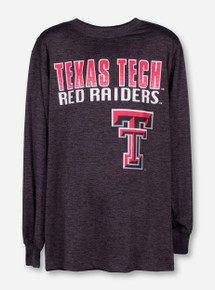 Arena Dotted Texas Tech on Heather Charcoal YOUTH Long Sleeve