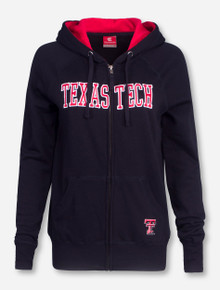 Arena Blocked Texas Tech on Black Women's Full Zip Hooded Sweatshirt