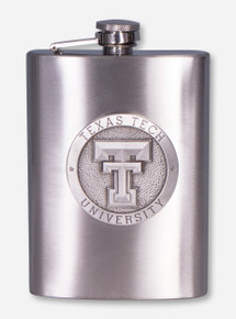 Texas Tech Double T Emblem on Pewter Flask