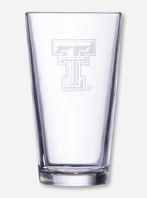Texas Tech Etched Double T on Pint Glass