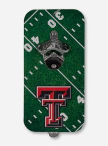 Texas Tech Double T on Magnetic Football Field Bottle Opener