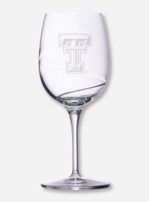 Texas Tech Etched Double T on Swirled Wine Glass