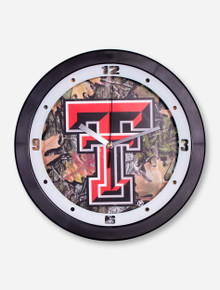 Texas Tech Double T on Camo Wall Clock