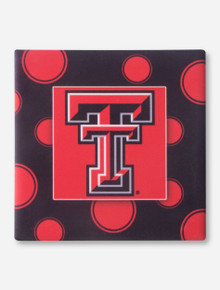 Texas Tech Double T on Polka Dot Black & Red Coaster