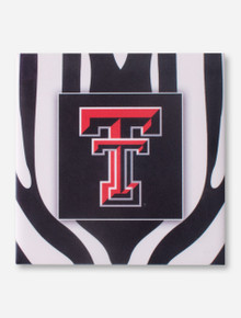 Texas Tech Double T on Zebra Patterned Black & White Coaster
