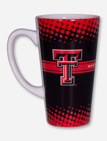 Texas Tech Double T on Halftone Pattern Black & Red Latte Mug