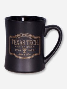 Gold Texas Tech Plaque on Black Satin Coffee Mug