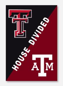 """House Divided: TTU/A&M Black & Maroon 28"""" x 44"""" Flag"""
