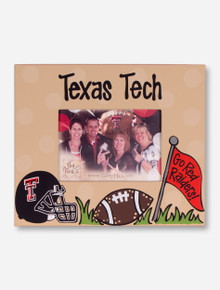 Texas Tech Helmet & Football on Tan Frame