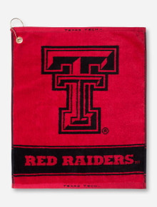 Texas Tech Double T & Red Raiders on Red Golf Towel
