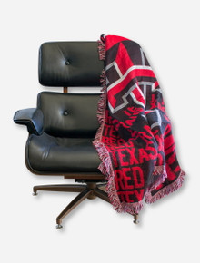NW Double T & Texas Tech Red Raiders on Black Jacquard Throw