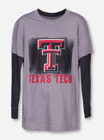 Arena Texas Tech Double T with Spray Paint on Grey YOUTH Long Sleeve