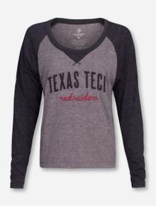 Arena Texas Tech Applique on Two Toned Women's Long Sleeve Raglan