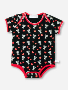 Texas Tech Double T and Hearts on Black INFANT Onesie