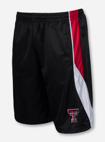 Arena Texas Tech Double T with Red and White Striped Sides on Black Shorts