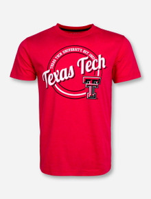 Arena Texas Tech Circle on Vintage Red T-Shirt