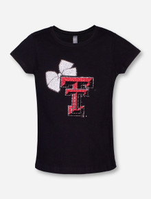 Texas Tech Shine Double T with Bow on Black YOUTH T-Shirt