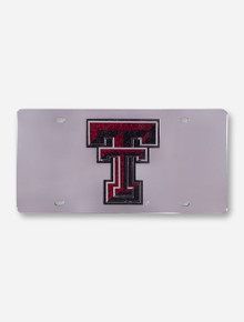Texas Tech Mirrored Frame with Glitter Double T License Plate