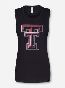 Texas Tech Double T on Black Muscle Tank Top