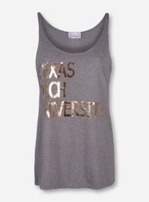 Livy Lu Texas Tech Gold Foil Heather Grey Tank Top