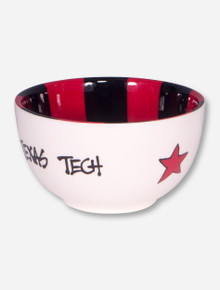 Texas Tech Red and Black Striped Ceramic Bowl