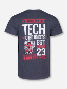 Go Red Raiders Wreck 'Em Tech on Heather Charcoal T-Shirt