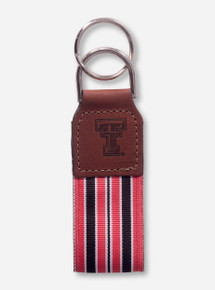 Texas Tech Double T Embossed Leather with Canvas Key Chain