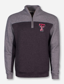 """Nantucket"" Double T on Grey Quarter Zip Pullover - Texas Tech"