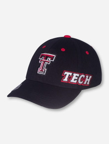 Top of the World Double T on Black Memory Fit Stretch Fit Cap - Texas Tech
