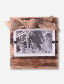 Double T Wooden Frame with Burlap Bow - Texas Tech