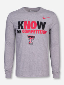 "Nike Texas Tech ""Know The Competition"" on Heather Grey Long Sleeve"