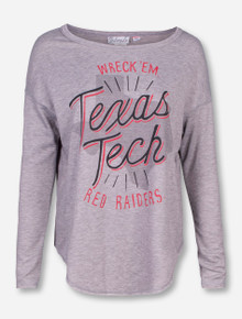 Livy Lu Texas Tech Shine On State Heather Grey Long Sleeve