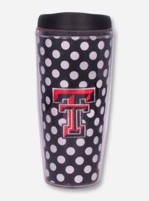 Texas Tech Black and White Polka Dot Double T Travel Tumbler