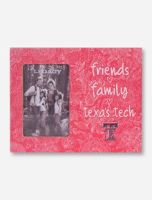 Friends, Family and Texas Tech on Red Floral Wood Frame