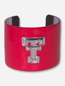 Texas Tech Silver Plated Double T Red Enamel Cuff Bracelet