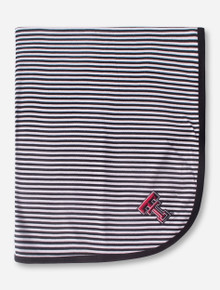 Texas Tech Double T Black and White Striped Baby Blanket