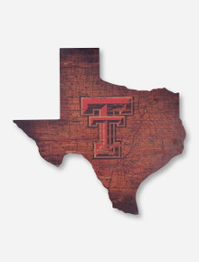 Map of Lone Star Wood Cut Out - Texas Tech