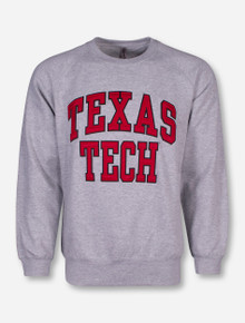 Texas Tech Block Crew Neck Heather Grey Sweatshirt
