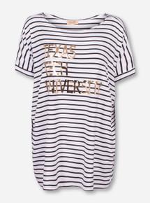 Livy Lu Texas Tech Foil Piko Black and White Striped Shirt