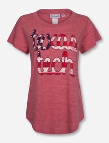Livy Lu Texas Tech Flag Baseball Vintage Red T-Shirt