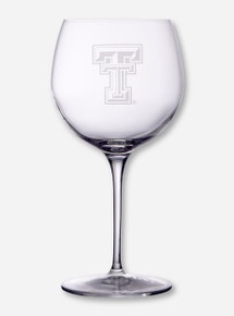 Texas Tech Etched Double T Chardonnay Wine Glass