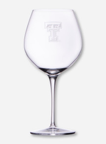 Texas Tech Etched Double T Red Wine Glass