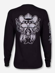 Texas Tech Raider Red in Silver Glitter on Black Long Sleeve