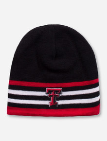 Texas Tech Double T Red and White Striped Black Beanie
