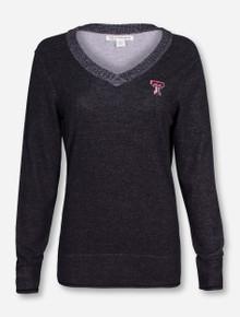 """Cutter & Buck Texas Tech """"McKenzie"""" Heather Charcoal Women's V Neck Sweater"""