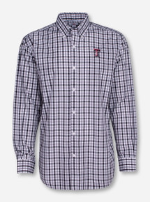 "Cutter & Buck Texas Tech ""Grant"" Black and White Plaid Long Sleeve Shirt"